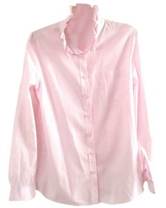 Gap Classic Cotton Ruffle Button Down Shirt pink
