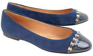Salvatore Ferragamo Ballerina Size 7.5 Italy Luxury Suede Patent Leather Gold Hardware Blue Flats