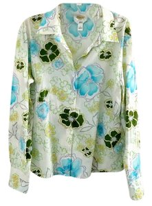 Talbots Classic Cotton Button Down Shirt floral