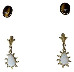 Antique 14K Tiger Eye Earrings AND Opal Dangle Earrings Chandelier Cute Elegant Vintage