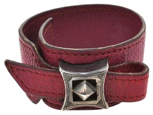Herms HERMES Logos Pink Bangle Leather France FA01637