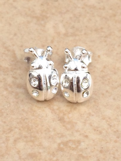 Other Sterling Silver 925 Crystal Lady Bug Stud Earrings