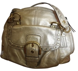 Coach Buckle Shoulder Satchel in Champaign/Gold