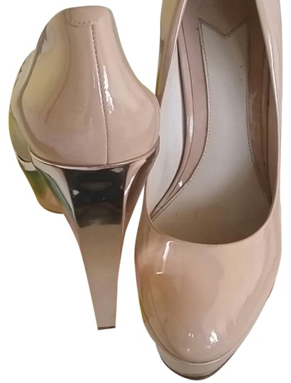 Brian Atwood Nude/Gold Pumps