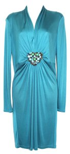 Catherine Malandrino Stretch Teal Silk Dress