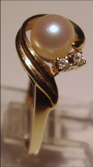 Other Vintage 14K Yellow Gold Cultured Pearl And Diamond Ring Size7.25