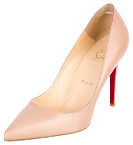 Christian Louboutin Nude Tan Leather Pointed Toe Stiletto Pigalle Beige Pumps