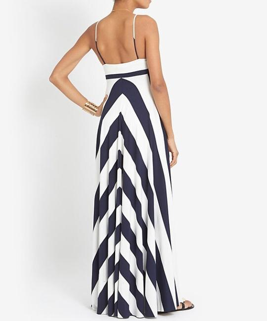 Navy White Maxi Dress by Nadia Tarr Jersey Newyork Chevron Stripe Stripes Striped Vacation Resort Fashion Designer Style Quality Luxury Maxi