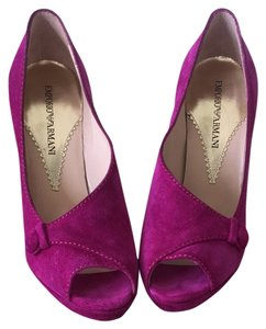 Emporio Armani Suede Pump Fuchsia/ Purple Pumps