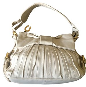 Betsey Johnson Leather Pleated Bow Satchel in Cream