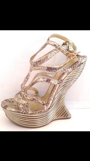 Alexander McQueen Python Exoticdesign Shoe Wave Scultural Gold Wedges