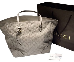 Gucci Leather Tote in Grey