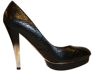 Charles David Snake-embossed Leather Size 8 Heels Black Platforms