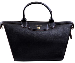 Longchamp Heritage Leather Satchel in Black