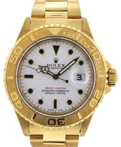 Rolex Rolex 16628 Yachtmaster 18k Yellow Gold White Dial Watch W Serial