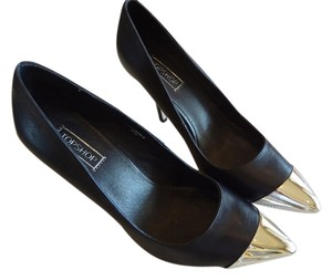 Topshop Leather New Stiletto Black & Chrome Pumps