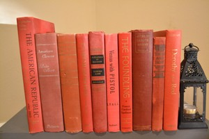 Red Vintage Style Books - C - Set Of 10 Centerpiece