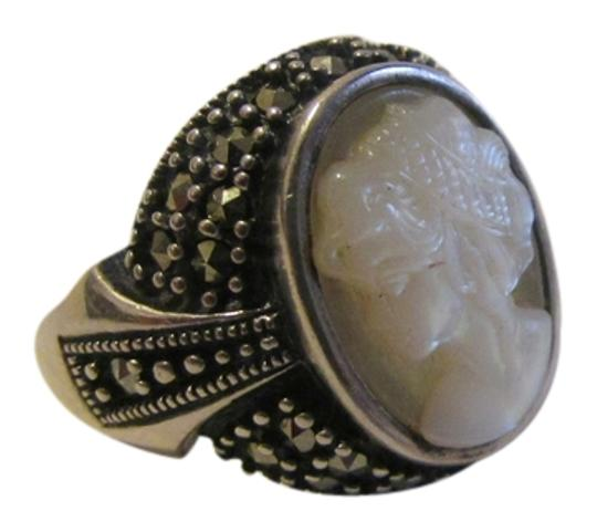 Other .925 Stamped Sterling Silver Marcasite Faux Cameo Ring Size 7