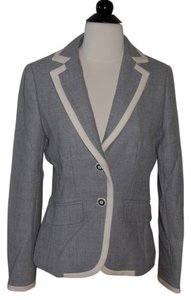 J.Crew Gray (Ivory Piping) Blazer
