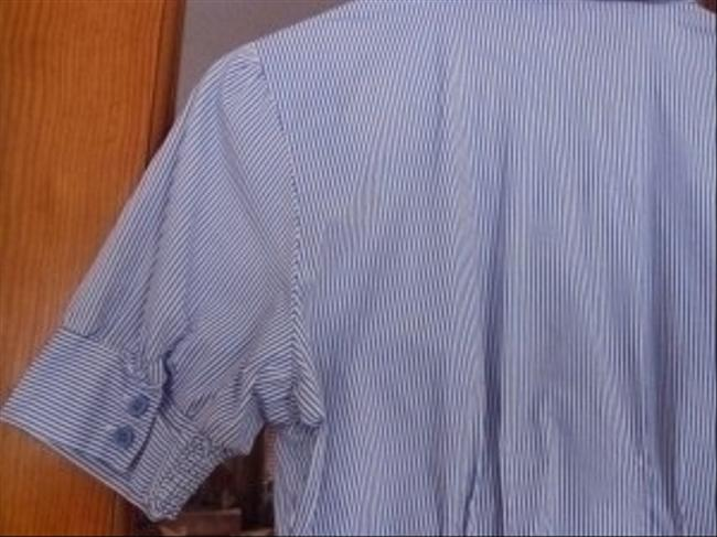 Passport Button Down Shirt Blue/White