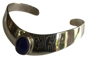 Gorgeous sterling and blue stone cuff bracelet