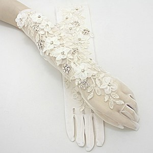 Cream Clear Crystal Accent Pair Of Vintage Inspired Embroidered Flower Stretchable Formal Gloves