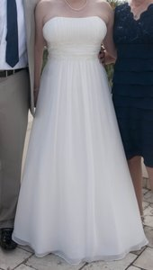 David's Bridal Chiffon Soft Gown With Beaded Lace On Empire Waist Ntv9743 Wedding Dress