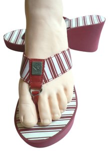 BCBG Paris Red/White Stripe Sandals
