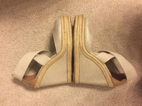 Tory Burch Leather natural gold Wedges