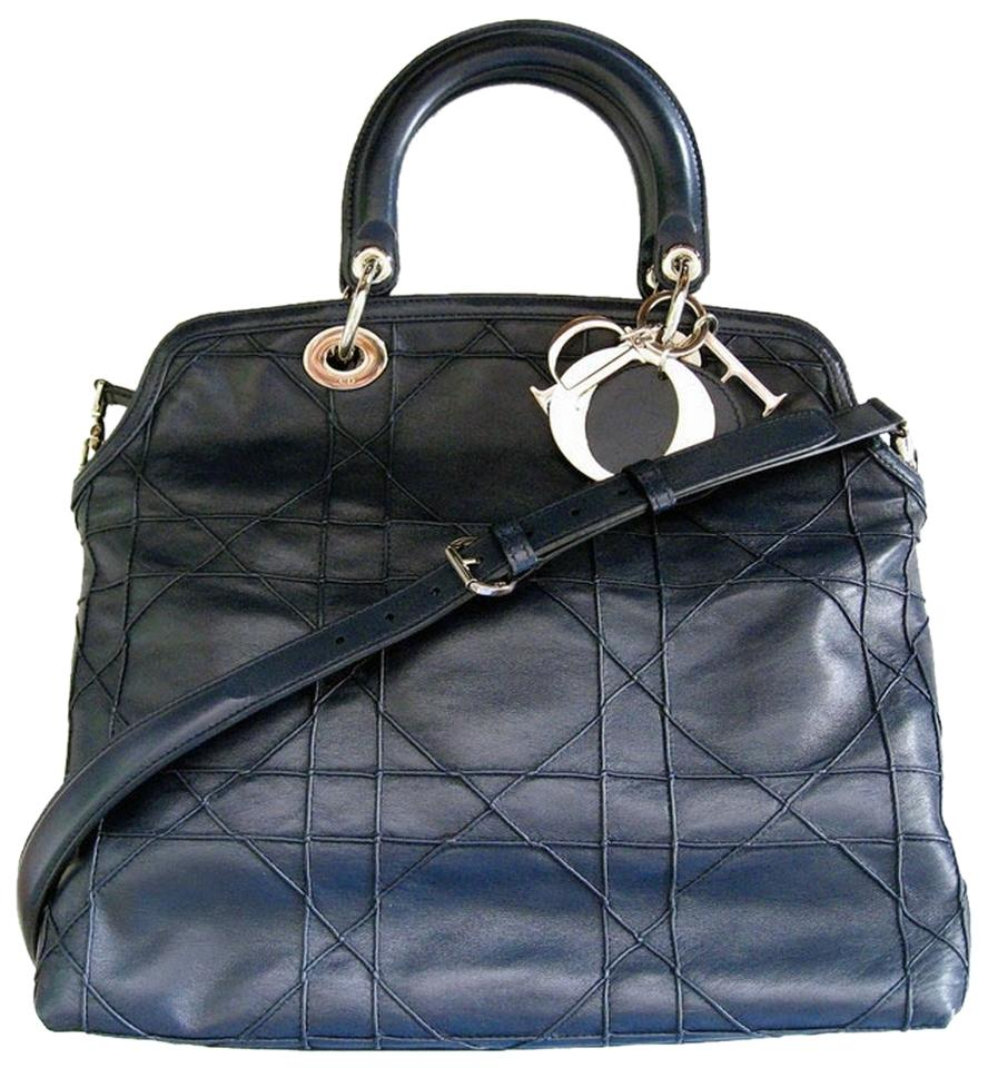 d06d57c14f Dior Christian Granville Cannage In Navy Blue Leather Tote - Tradesy