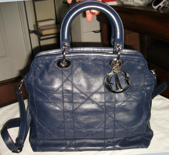 Dior Granville Cannage Lambskin Medium Tote in Navy Blue