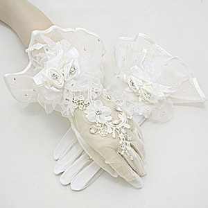 Cream Embroidered Flower Crystal Accent Flared Stretchable Bridal Wedding Gloves