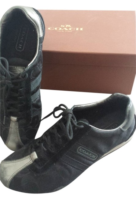 Item - Black and Silver Monogrammed Sneakers Size US 6 Regular (M, B)