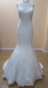 Mori Lee Ivory Lace 2713 Formal Wedding Dress Size 10 (M)