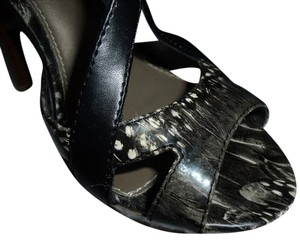 64bf7f2e750 Charlotte Russe Open Toe Patterned Wood Heels Strappy Black Gray White Brown  Sandals