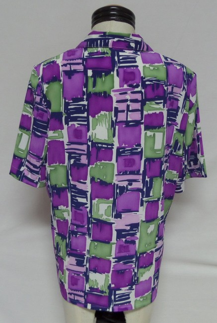 Alia Top Purple Green and White Geometric Print