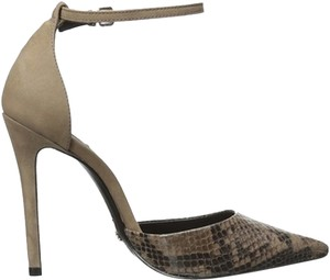SCHUTZ Irma Leather Brown Snakeskin & Suede Pumps