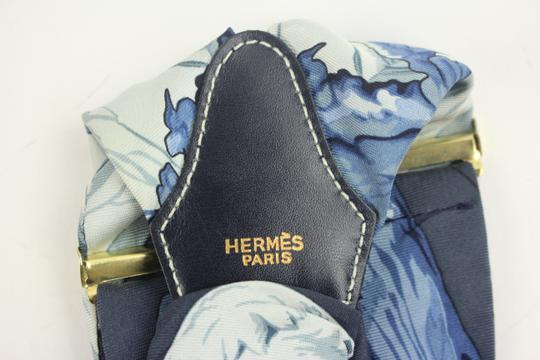 Hermès [ENTERPRISE] Hermes Suspenders Blue Silk CCTLM19