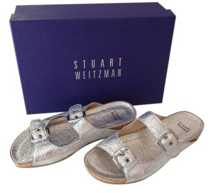Stuart Weitzman Comfortable Stylish Silver Foil Sandals