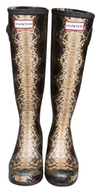 Item - Brown and Yellow with A Little Green Carnaby Snake Welly Boots/Booties Size US 8 Regular (M, B)