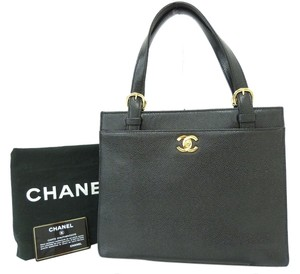 Chanel Leather Classic Gold Tote in black