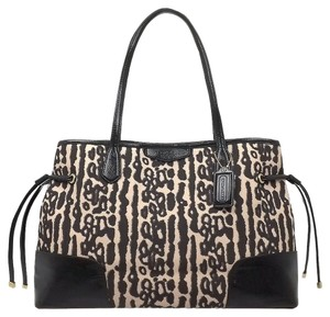 Coach F31423 Leopard Signature Stripe Ocelot Tote in Black Multi-Color