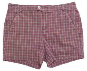 Dockers Mini/Short Shorts Red White and Black Plaid Print