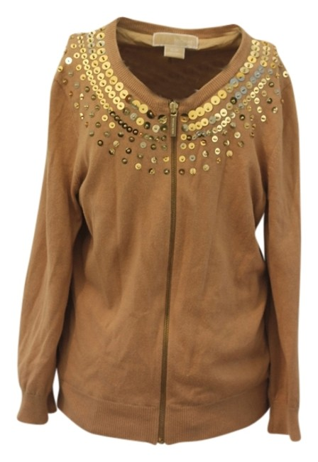 Item - Amazing Zip Up Linned with Sequines Gold and Tan Sweater