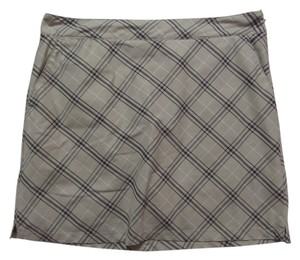 Izod Skort Beige Black and White Checkered Print