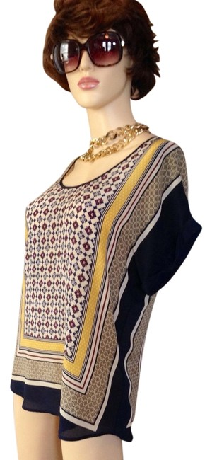 Lucky Brand Bohemian Silk Oversized Floral Top Ivory/Navy/Yellow