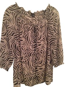 East 5th Essentials Top Black and white zebra pattern