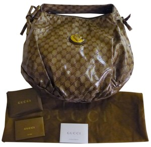 Gucci Monogram Patent Leather Hobo Bag
