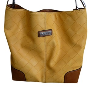 Leather New Tote in Yellow and tan