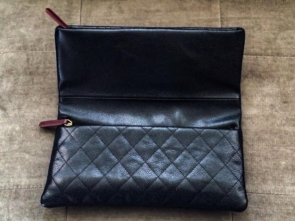 ec6824674c16 Chanel 2015 Cc Beauty Foldover Quilted Black Caviar Leather Clutch ...